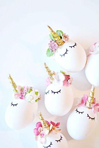 licorne, oeuf de pâques décorés, déco licorne