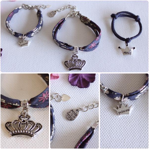 Bracelet fête des mères,bracelet assortis,bijoux liberty,breloque couronne,bracelet prince,cadeau fâte des mères,bracelet enfant,bijoux gravés, bracelet assorti maman fille, cadeau fête des mère